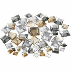 Vierkante plak diamantjes zilver mix