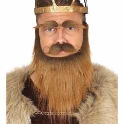 Viking baard set snor wenkbrauwen bruin