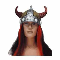 Vikinghelm rood/zwart haar