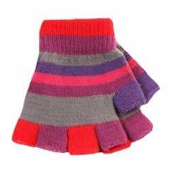 Vingerloze handschoenen gekleurde streepjes meisjes