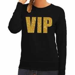Vip tekst sweater / trui zwart gouden glitter letters dames