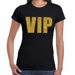 Vip tekst t shirt zwart gouden glitter letters dames