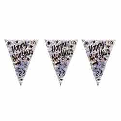 Vlaggenlijn happy new year holografisch