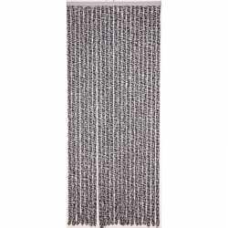 Vliegengordijn/deurgordijn kattenstaart grijs/wit 90 bij 220