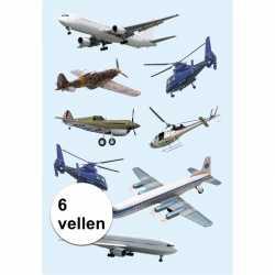 Vliegtuigen stickers 6 vellen