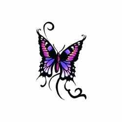 Vlinder glitter tattoo zwart/paars