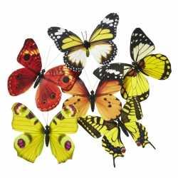 Vlinder magneet geel/oranje 13,5