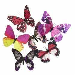 Vlinder magneet roze/paars 13,5