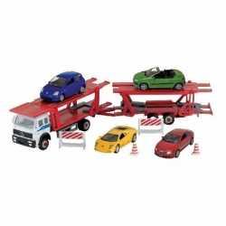 Vrachtwagen auto op aanhanger speelgoed modelauto 1:60