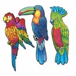 Wanddecoratie tropische vogels 3 stuks