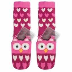 Warmte sokken roze uil kinderen