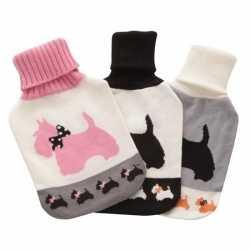 Warmwater kruik wit/zwarte honden hoes 2 liter