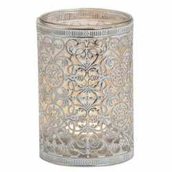 Waxinelicht/theelicht houder zilver antiek 12
