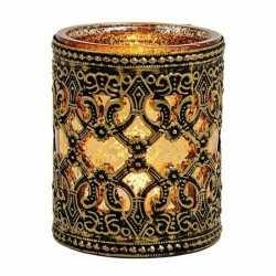 Waxinelicht/theelicht houder zwart/goud antiek 10