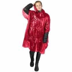 Wegwerp regenponcho rood