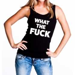 What the fuck tanktop / mouwloos shirt zwart dames