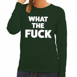 What the fuck tekst sweater groen dames