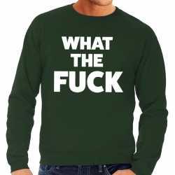 What the fuck tekst sweater groen heren
