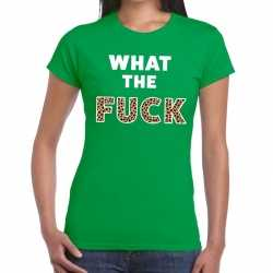 What the fuck tijger print tekst t shirt groen dames