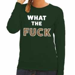 What the fuck tijgerprint tekst sweater groen dames