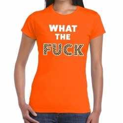What the fuck tijgerprint tekst t shirt oranje dames