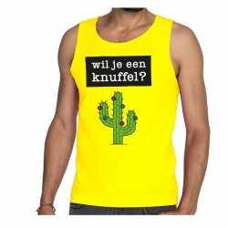 Wil je een knuffel tekst tanktop / mouwloos shirt geel heren