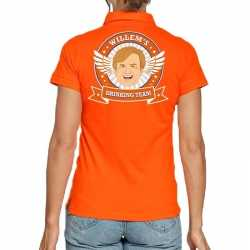 Willems drinking team poloshirt oranje dames