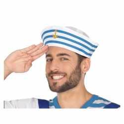 Wit/blauw matrozen verkleed hoedje volwassenen