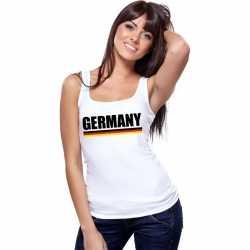Wit duitsland supporter singlet shirt/ tanktop dames