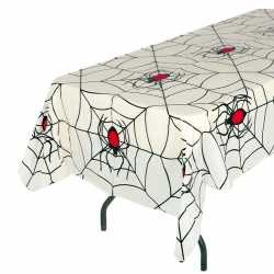 Wit halloween spinnenweb tafelkleed 135 bij 270