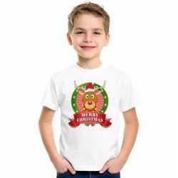 Wit kerst t shirt kinderen een rendier