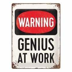 Wit muurplaatje warning, genius at work