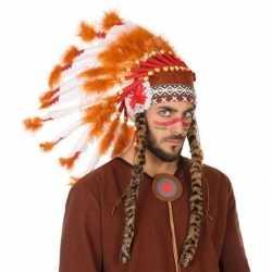 Wit/oranje luxe indianen tooi heren