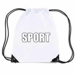 Wit sport rugtasje/ gymtasje kinderen