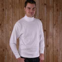Wit t-shirt col lange mouw heren