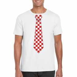 Wit t shirt geblokte brabant stropdas heren