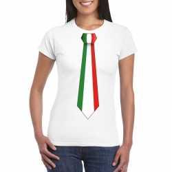 Wit t shirt italie vlag stropdas dames