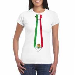 Wit t shirt mexico vlag stropdas dames