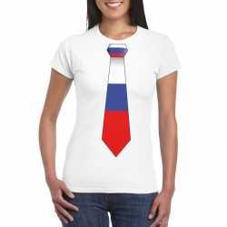 Wit t shirt rusland vlag stropdas dames