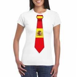 Wit t shirt spanje vlag stropdas dames