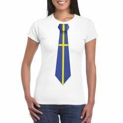 Wit t shirt zweden vlag stropdas dames
