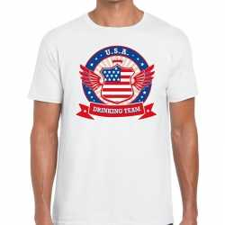 Wit usa drinking team t shirt heren