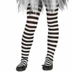 Wit/zwart gestreepte panty 15 denier meisjes