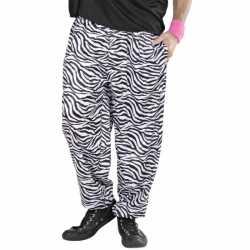 Witte baggy broek zebraprint