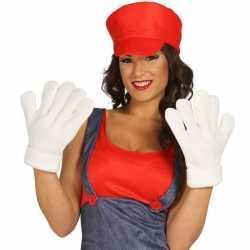 Witte grote handschoenen volwassenen