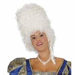Witte hoge barok pruik dames