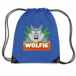 Wolfie de wolf rugtas / gymtas blauw kinderen