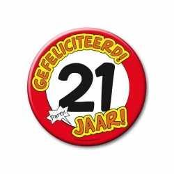 XXL verjaardags button 21 jaar