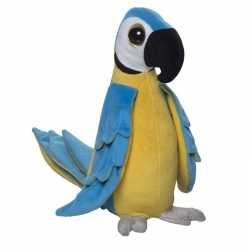 Zachte pluche papegaai knuffel blauw 25