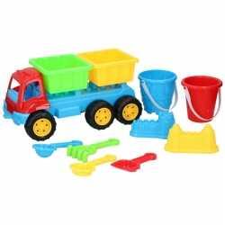 Zandbak speelgoed blauwe truck/kiepwagen dubbele oplegger 35